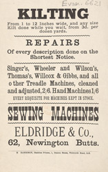 Advert For Eldridge & Co., Sewing Machine Repairs